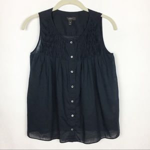 J. Crew sleeveless Pleated Button Down Top Navy